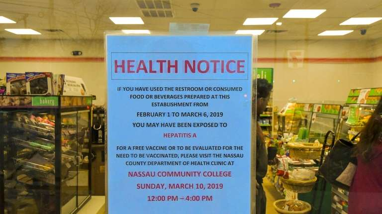 A health notice on the door of a