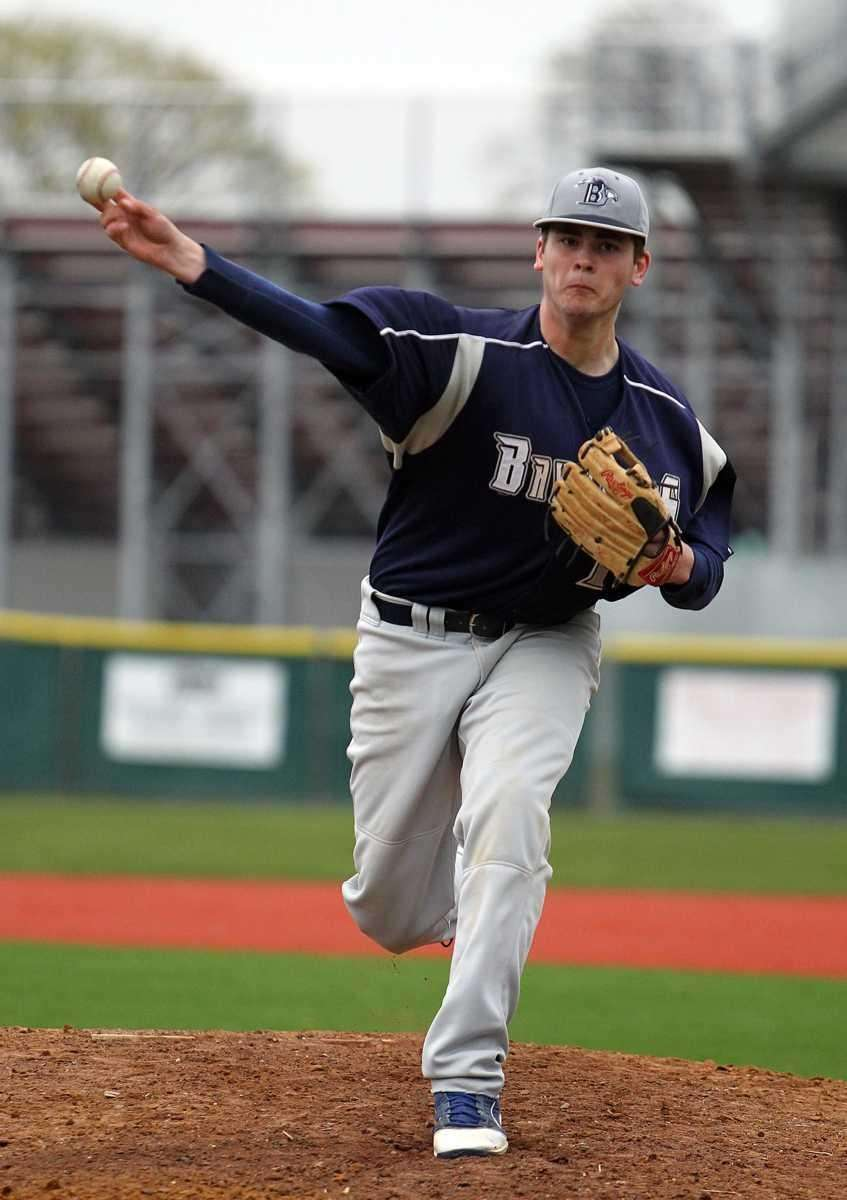 St. Dominic relief pitcher Spencer Bilello (18). (April