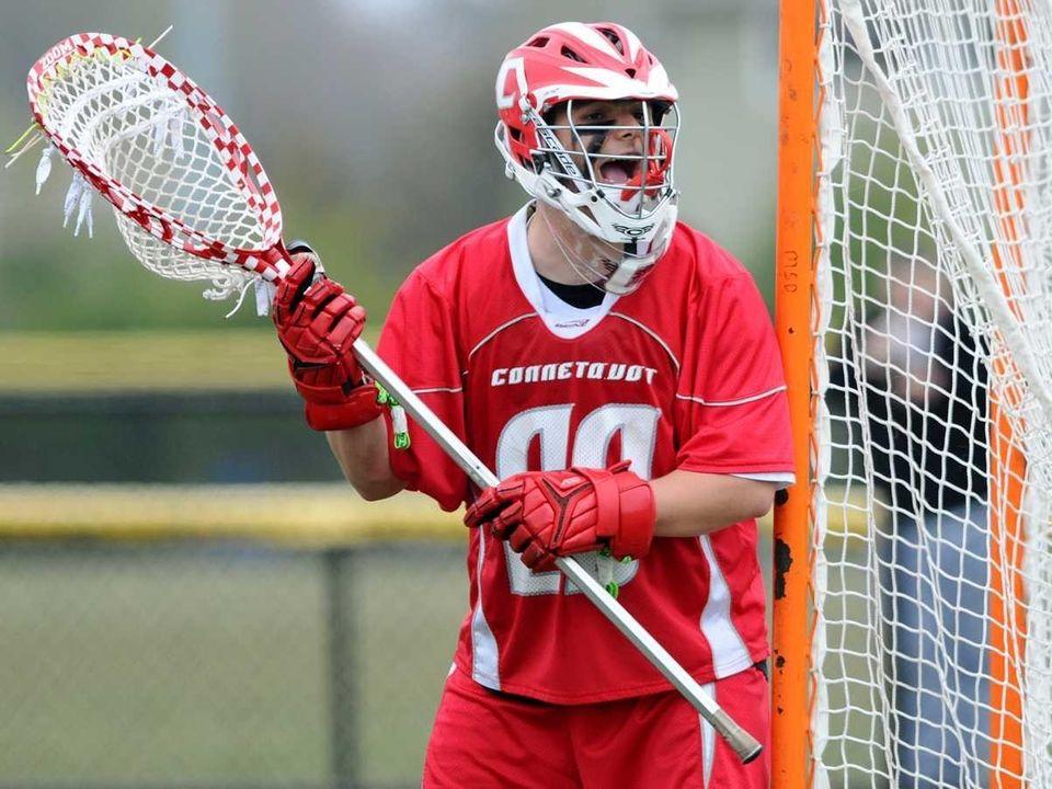 Connetquot High School goalkeeper #29 Zach Oliveri guards
