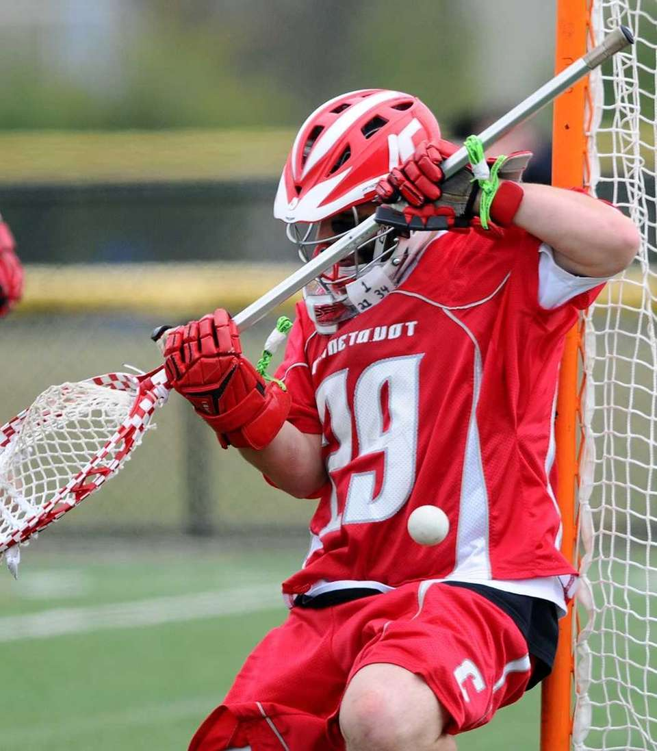 Connetquot High School goalkeeper #29 Zach Oliveri makes