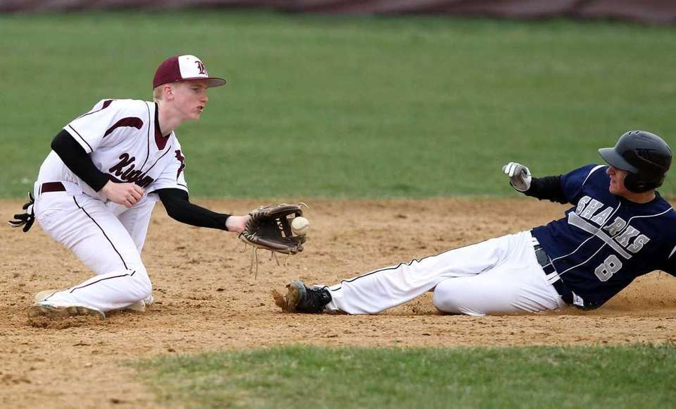 Eastport's Andrew Wynsock is tagged out at second