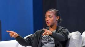 U.S. national soccer player, Crystal Dunn, taking part