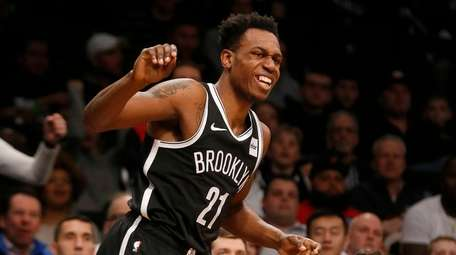Treveon Graham #21 of the Brooklyn Nets reacts