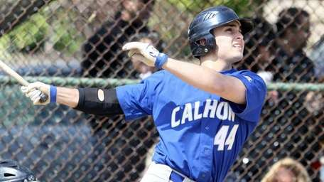 Calhoun's Jake Thomas launches a double during his