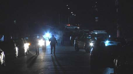 Police at the Friday night crash scene on