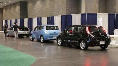 Electric cars NY Auto Show. Pictured: from left,