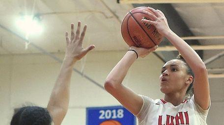 Celeste Taylor #12 of Long Island Lutheran pulls