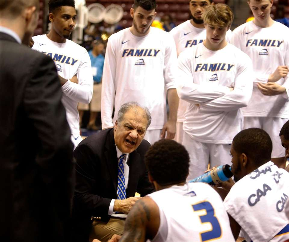 Hofstra's head coach, Joe Mihalich, speaks to his