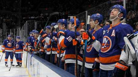 The Islanders look on before a game against