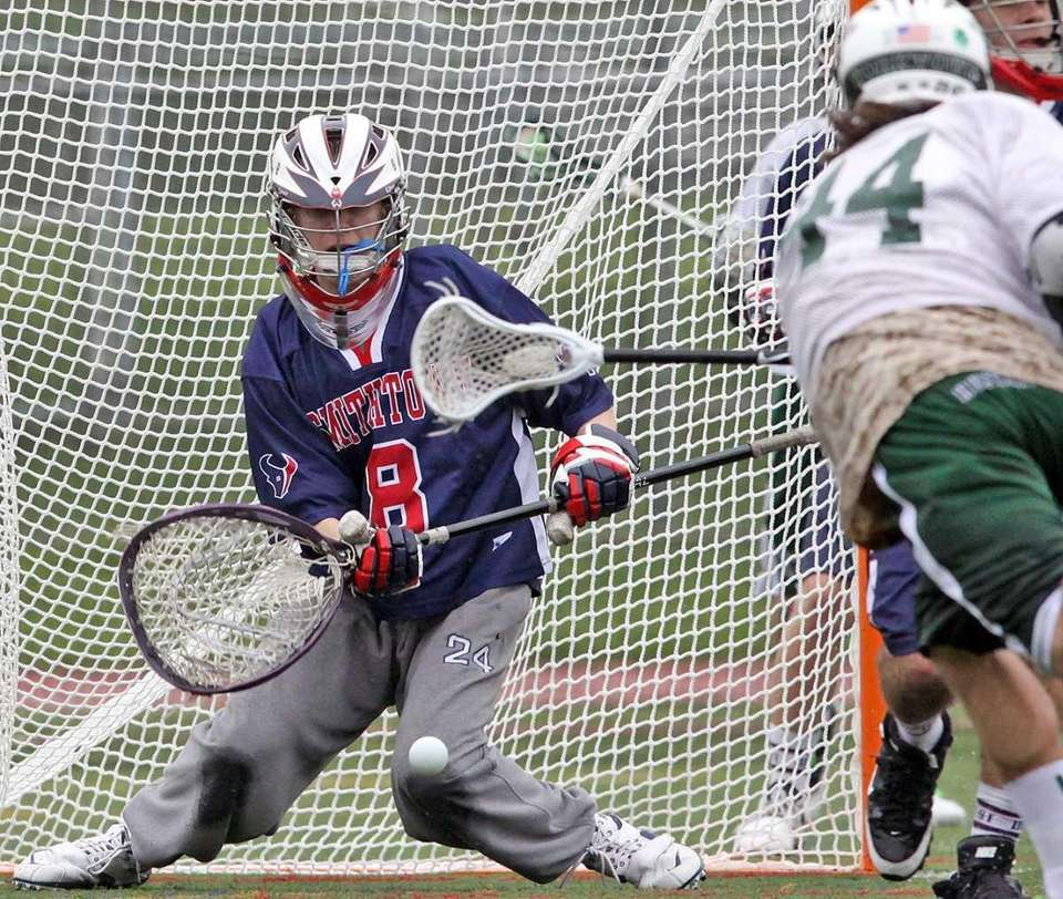 Smithtown West's goalie Ryan Adler makes save off