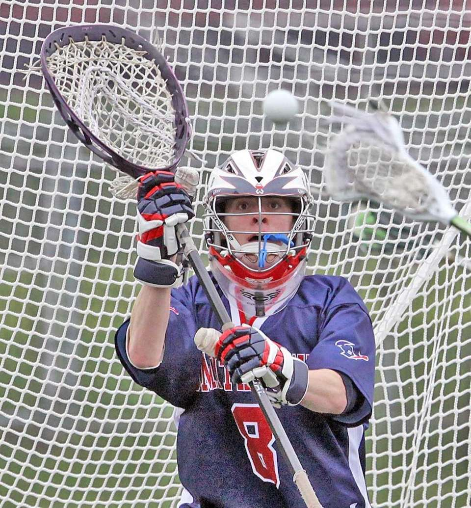 Smithtown West's goalie Ryan Adler has booth eyes