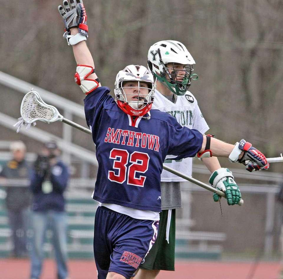 Smithtown West's James Pannell celebrates winning goal with