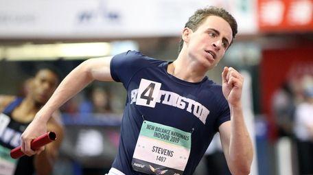Huntington's Justin Stevens runs his leg in the