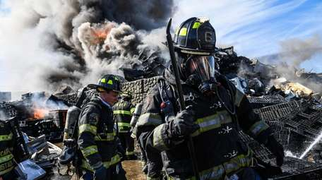 Volunteer firefighters from the West Babylon Fire Department