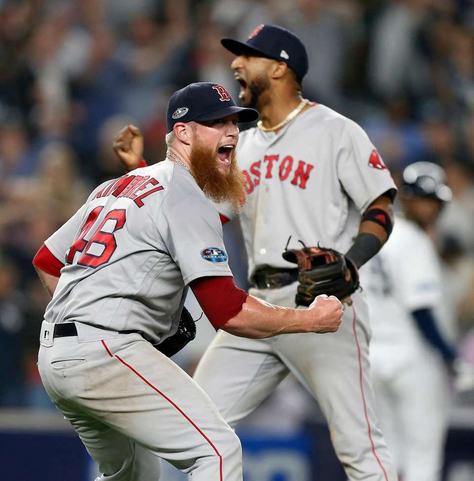 Craig Kimbrel #46 and Eduardo Nunez #36 of