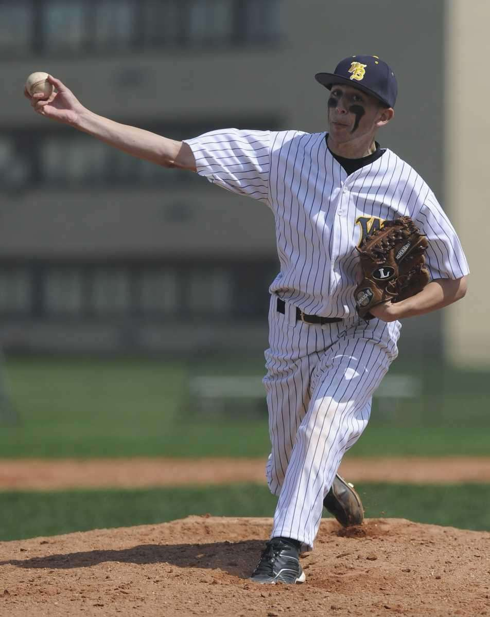 West Babylon starting pitcher Justin Schwartz delivers to