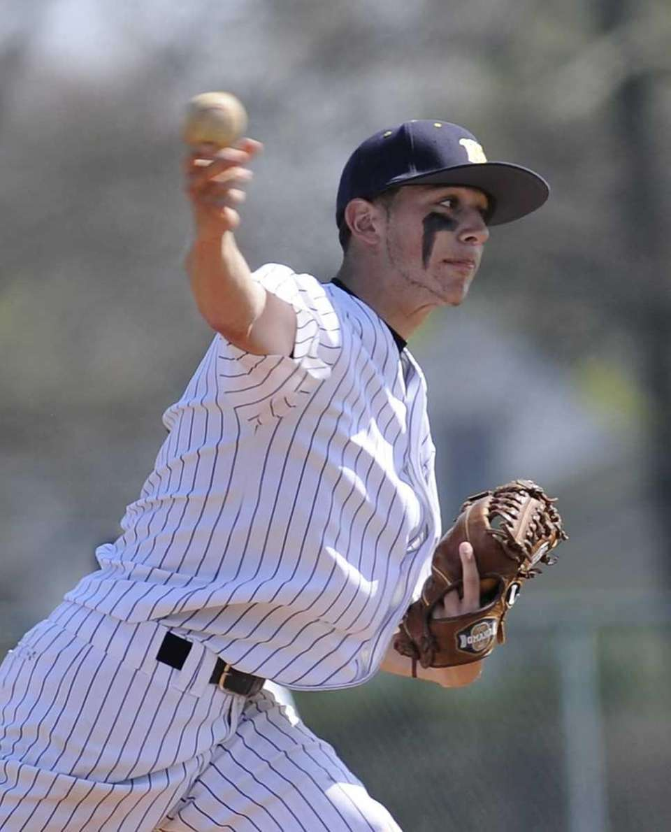 West Babylon starting pitcher Justin Schwartz delivers against