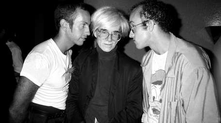 Kenny Scharf, left, Andy Warhol and Keith Haring