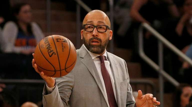 Head coach David Fizdale of the Knicks holds