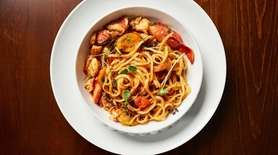 Fresh pasta with lobster and tomatoes gets an