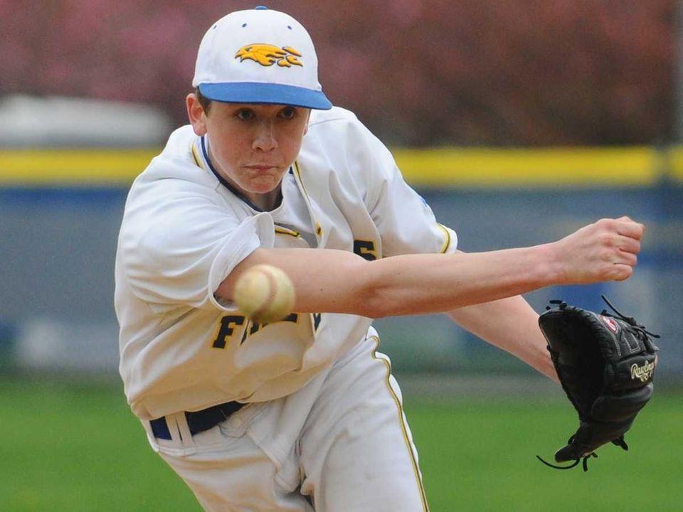 Kellenberg High School pitcher #1 Thomas Bishop delivers