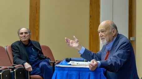 Michael D'Innocenzo, right, speaks during Hofstra University's Civil