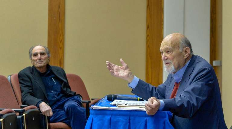 Michael D'Innocenzo, right, speaks during Hofstra University's Civil