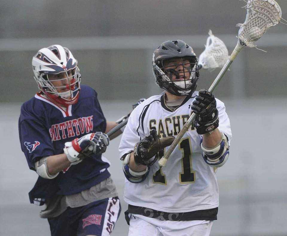 Sachem North's Dalton Crossan is pressured by Smithown