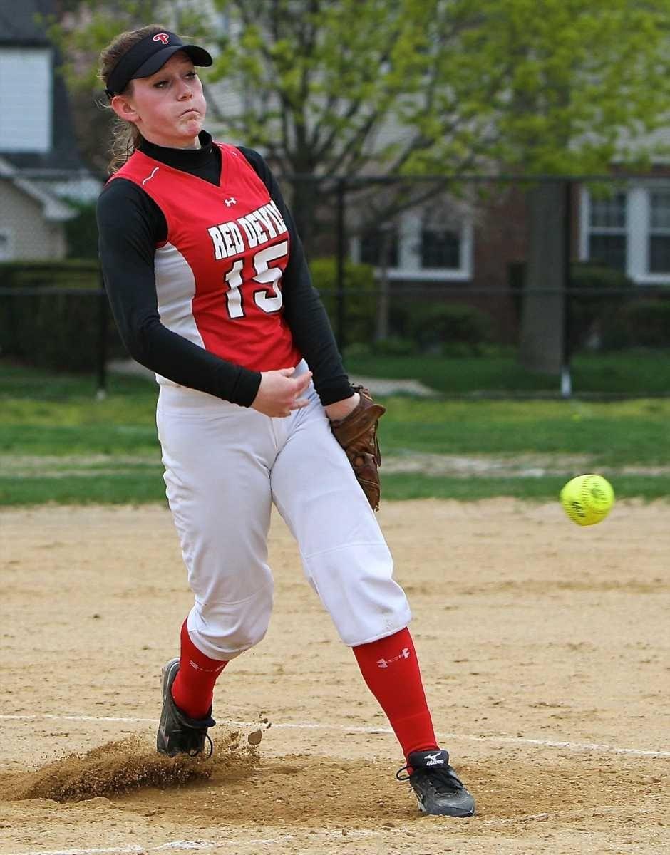 Plainedge pitcher Michele Daubman, #15 throws towards the