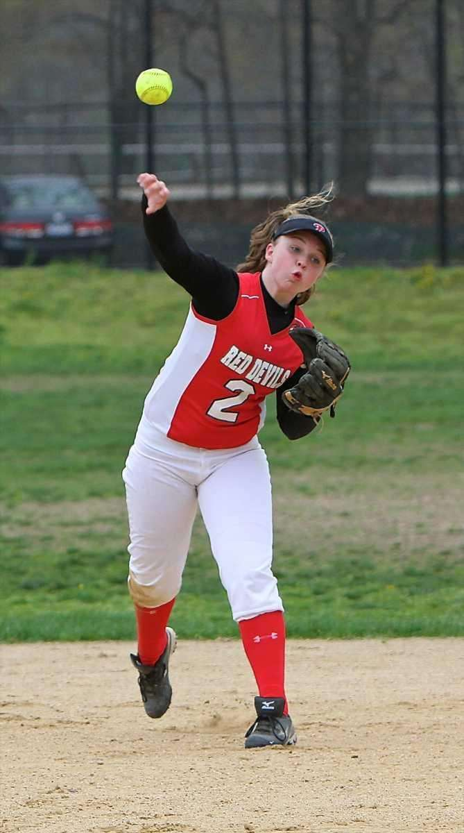 Plainedge shortstop Kaitlyn Finnen #2 makes the throw