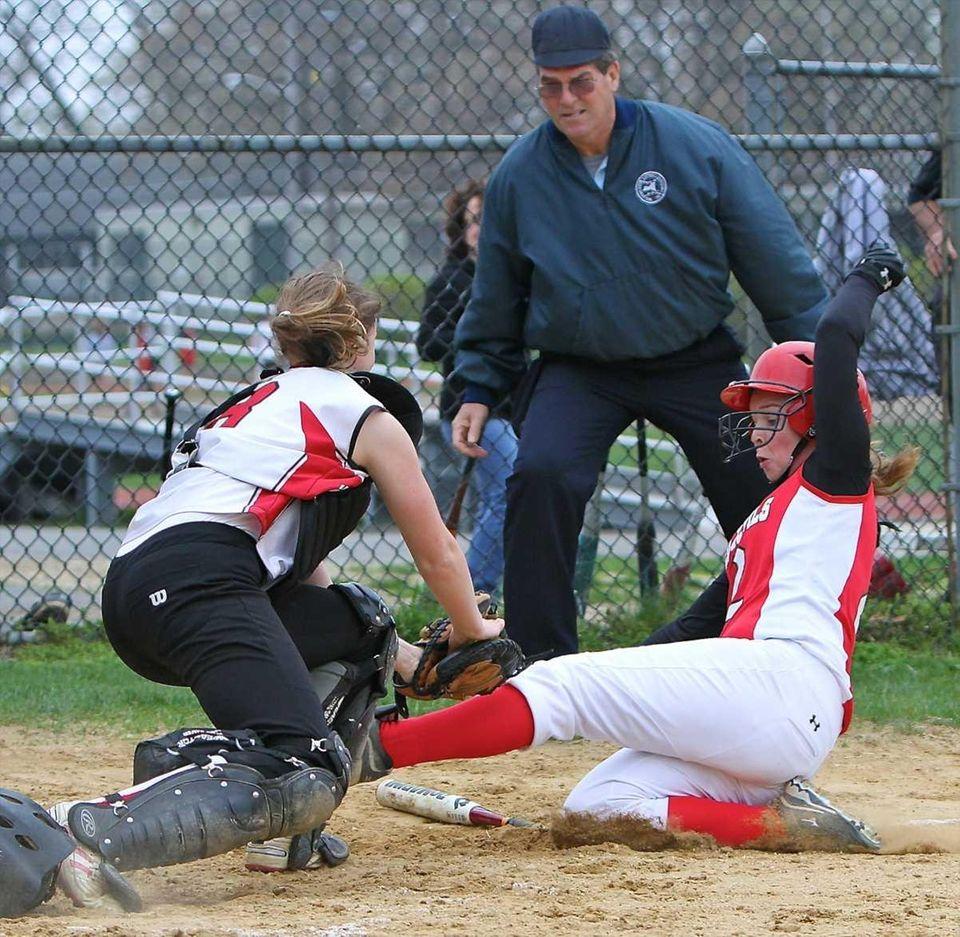Floral Park catcher Allison Bostrom #8 tags out