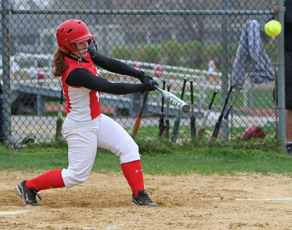 Plainedge's Megan Andrews #11 drives a hit to