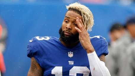 Odell Beckham Jr. of the Giants reacts on