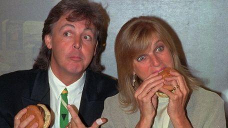 Former Beatle Paul McCartney and his wife, Linda,