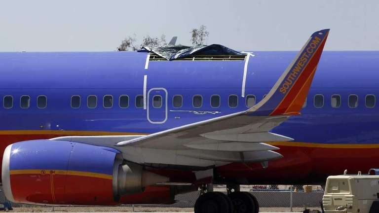 A Southwest Airlines plane sits in a remote