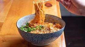 Grilled Cheese Noodles with a tomato pork broth,