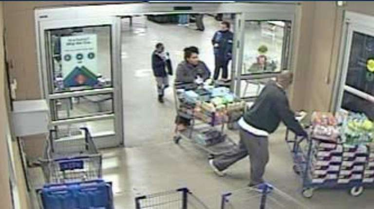 This surveillance image released in June shows suspects