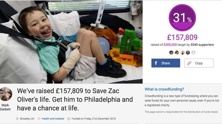 Screenshot of a crowdfund page created by Zac