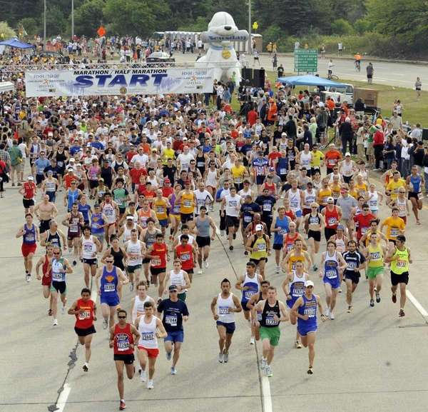 The start of the Long Island Marathon in