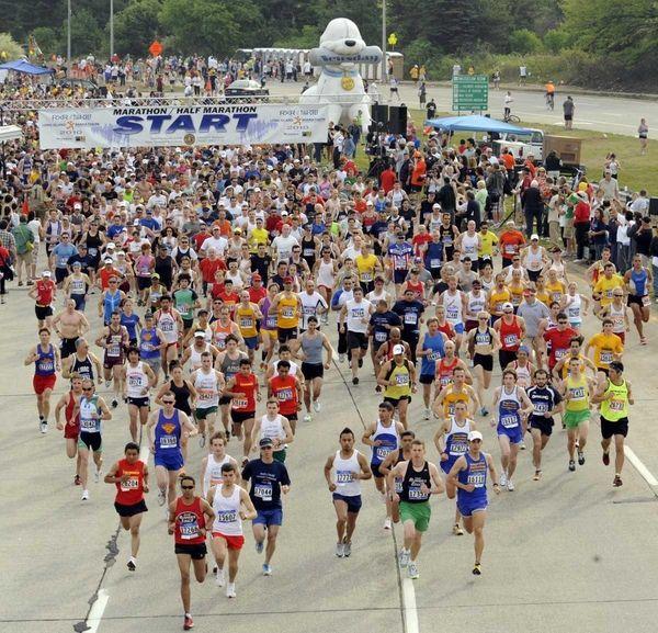 The start of the Long Island Marathon in