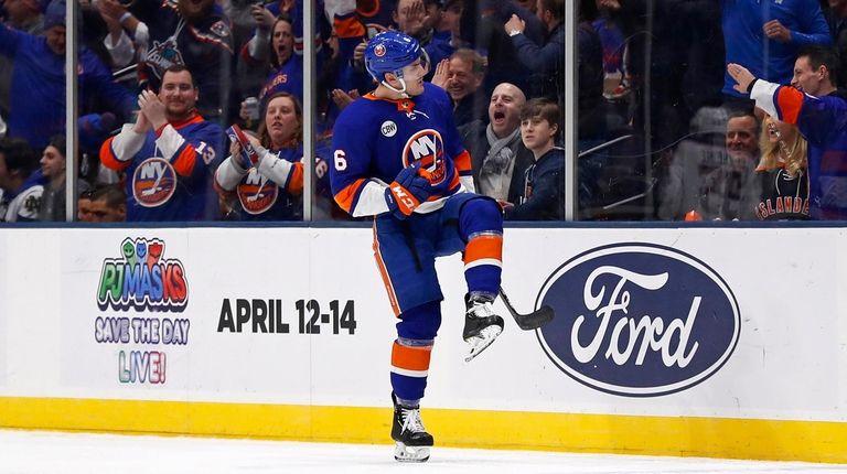 Islanders defenseman Ryan Pulock celebrates scoring a goal