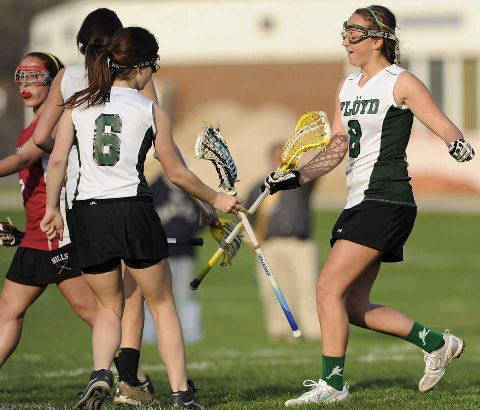 William Floyd's Courtney Murphy, right, celebrates a goal
