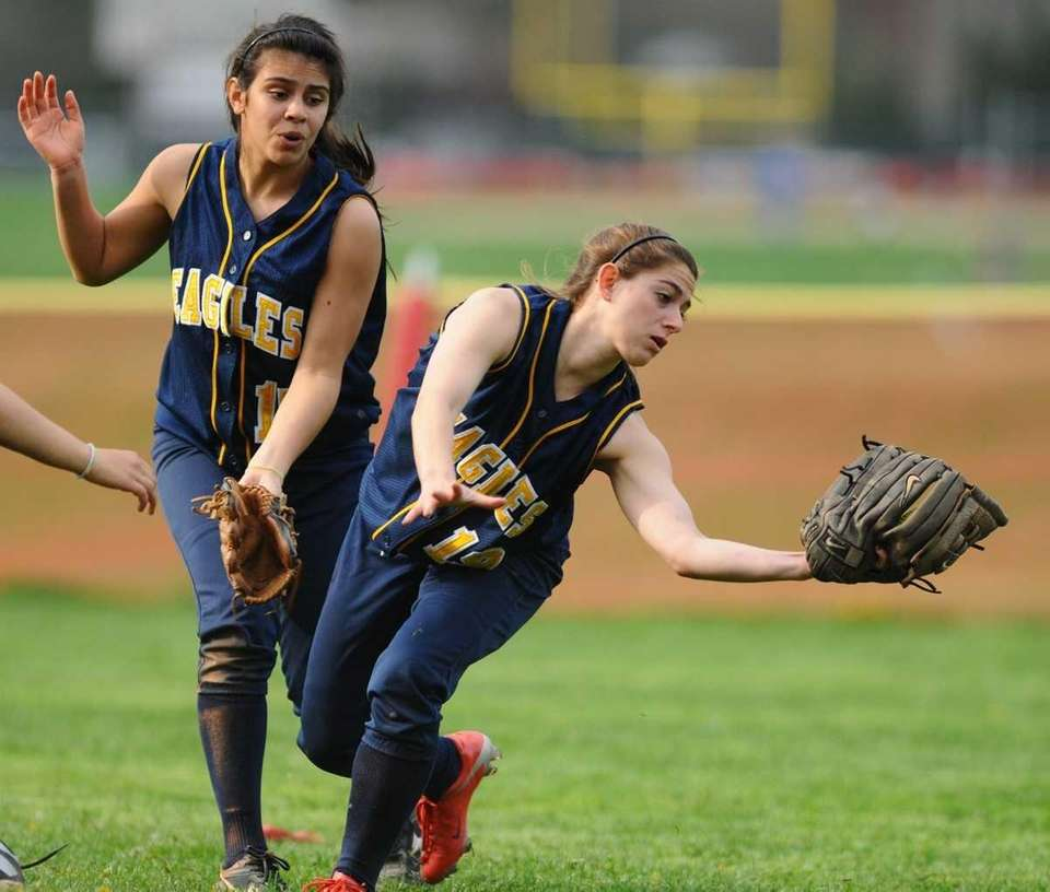 West Babylon High School centerfielder #19 Melissa Frederick,
