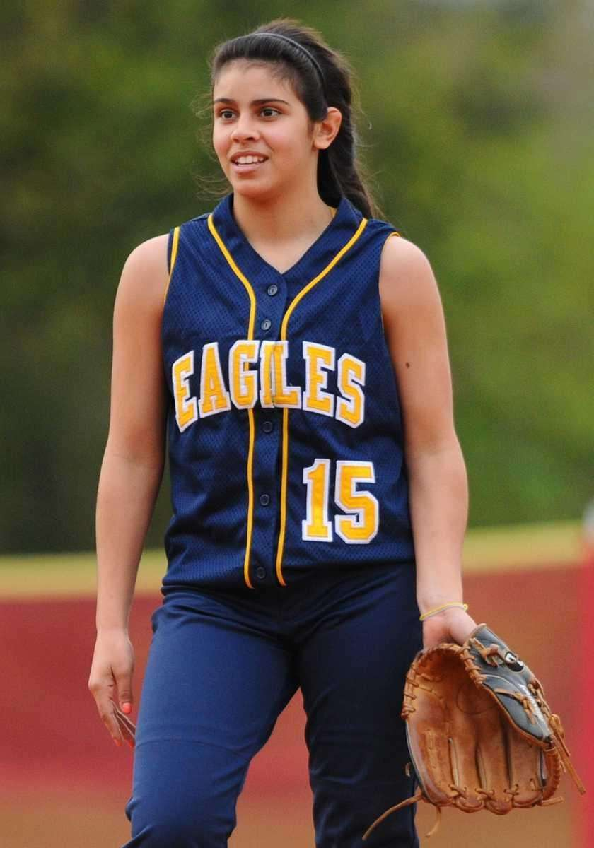 West Babylon High School shortstop #15 Brianna Scotto