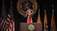 Nassau County Executive Laura Curran delivers the State