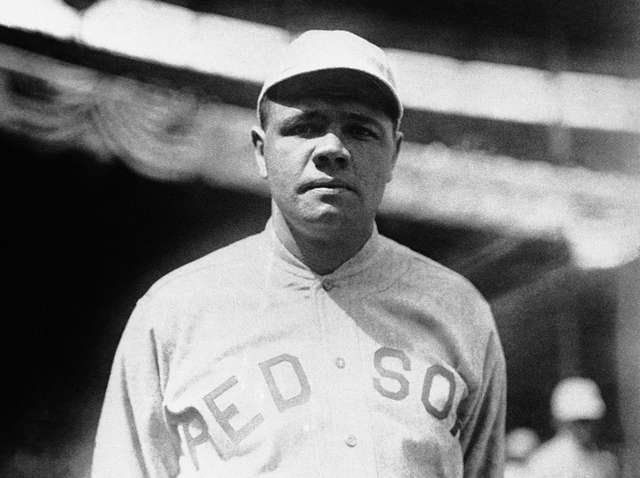 Babe Ruth in a Boston Red Sox uniform