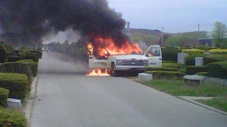 A fire engulfed a landscaping truck Monday morning