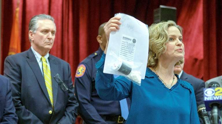 Nassau County Executive Laura Curran on Thursday holds