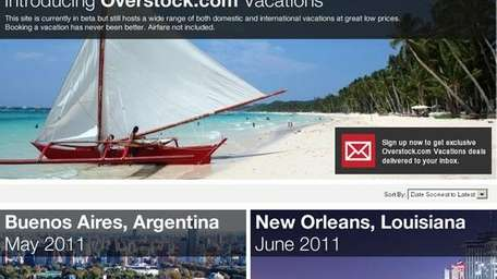 Overstock.com is now selling discounted vacations.