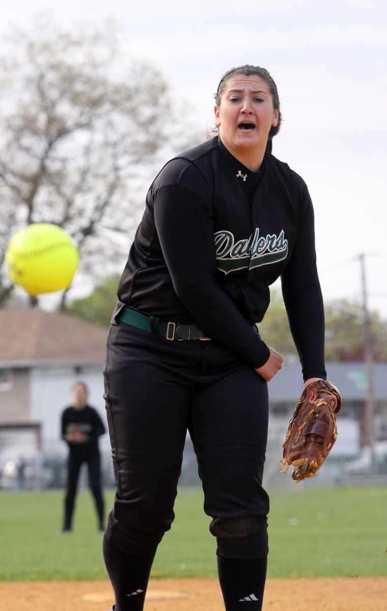 Farmingdale's Isabella Corrao watches one of her pitches